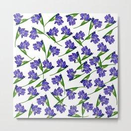 Watercolour Iris Pattern Metal Print