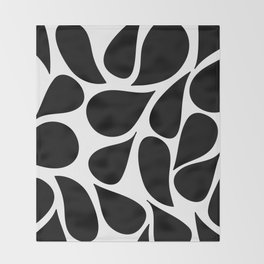 Abstract Black & White Foliage Pattern - Mix and Match with Simplicity of Life Throw Blanket