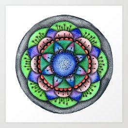 Raimbow Flower Mandala Art Print