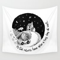 returns Wall Tapestries featuring Mr Owl Returns Home From Work by James Merry