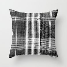 Stitched Plaid in Black and White Throw Pillow