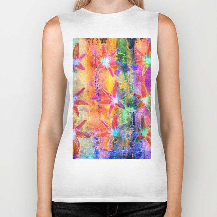 Colorful Lilies Biker Tank