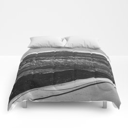 5280 Snowcap // Grainy Black & White Airplane Wing Landscape Photography of Colorado Rocky Mountains Comforters