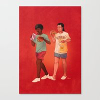 pulp Canvas Prints featuring Pulp Fiction by Dave Collinson