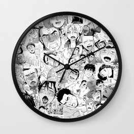 Ahegao Hentai Manga Guys Collage in B&W (Bara/Doujinshi) Wall Clock