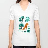 jaguar V-neck T-shirts featuring  Jaguar by Hui_Yuan-Chang