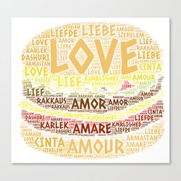 Hamburger illustrated with Love Word of different languages Canvas Print