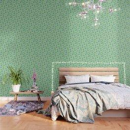 Bongs, Blunts, Joints Pattern Green Wallpaper