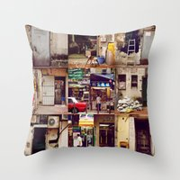 hong kong Throw Pillows featuring Doors of Hong Kong by Olivia Tse (OliviaOliveTea)