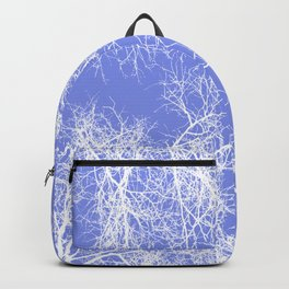 White silhouetted trees on blue Backpack