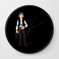 han solo Wall Clocks featuring Han Solo by Roe Mesquita