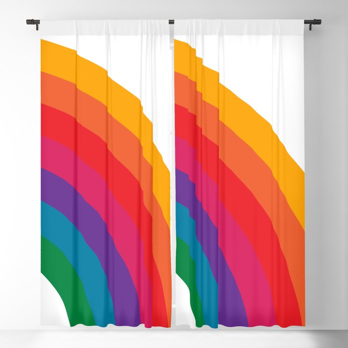 Retro Bright Rainbow - Right Side Blackout Curtain