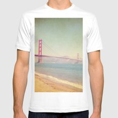 A Golden Day at the Beach MEDIUM White Mens Fitted Tee