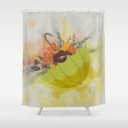 Autmn Floral Umbrella Shower Curtain
