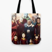 aang Tote Bags featuring Aang and Katara's Legacy by Meder Taab
