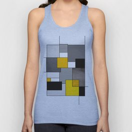 Black Yellow and Gray Geometric Art Unisex Tank Top