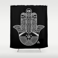 hamsa Shower Curtains featuring Hamsa by JaymesGraphics