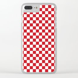 Small Checkered - White and Fire Engine Red Clear iPhone Case