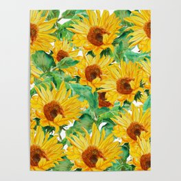 sunflower pattern Poster