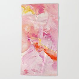 Pink Acrylic Abstract Art Beach Towel