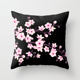 Cherry Blossoms Pink Black Throw Pillow