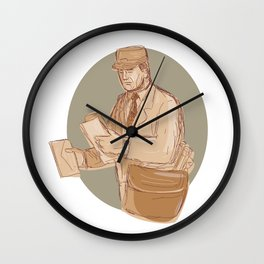 Vintage Postman Delivering Letter Drawing Wall Clock