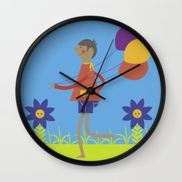 A boy with his balloons. Wall Clock