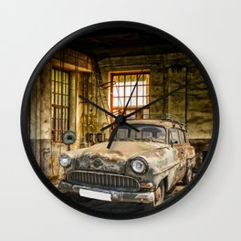 Old Car in a Garage Wall Clock