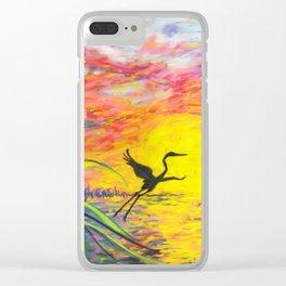 Sandhill Crane in the Sunset by annmariescreations Clear iPhone Case