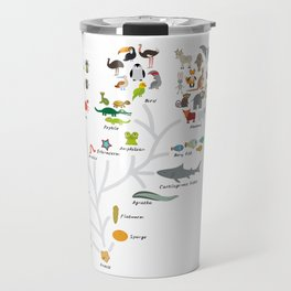 Evolution in biology, scheme evolution of animals on white. children's education back to scool Travel Mug