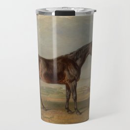 Dr. Syntax, a Bay Racehorse, Standing in a Coastal Landscape Travel Mug