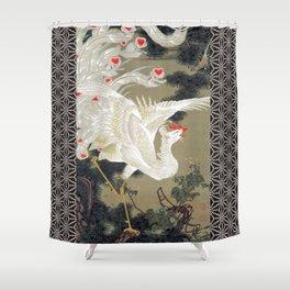 Jakuchu Phoenix with Hemp Pattern Background Shower Curtain