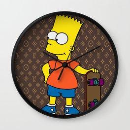 Bart Simpson skateboarding x louisvuitton brown Wall Clock