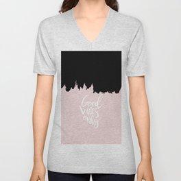 Modern abstract black blush pink brushstrokes typography Unisex V-Neck