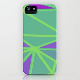 geometric triangle polygon shape abstract background in green and purple iPhone Case
