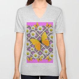 Yellow Butterfly on Lilac-pink Shasta Daisy Grey Pattern Unisex V-Neck