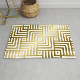 Art Deco Gold and Porcelain White Geometric Pattern Rug