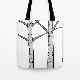 Poplar Tree Illustrated Print Tote Bag