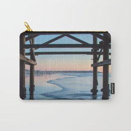 Blue Ocean Waves Beach Seascape Architecture (sunset, brown, blue, pink orange) Carry-All Pouch