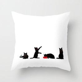 Cats Black on White Throw Pillow