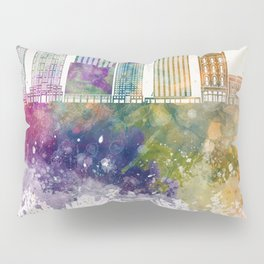 Raleigh V2 skyline in watercolor background Pillow Sham