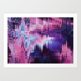 Violet Abstract Glitch effect Art Print