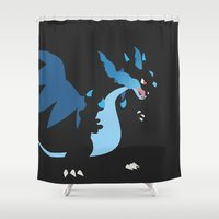 charizard Shower Curtains featuring Mega Charizard X PKMN by Rebekhaart
