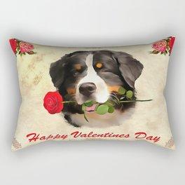 Saint Bernards Happy Valentines Day. (Painting.) Rectangular Pillow