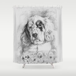 English Setter puppy Black and white portrait Shower Curtain