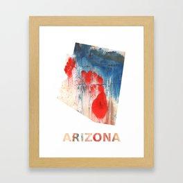 Arizona map outline Red Blue nebulous watercolor Framed Art Print