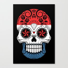 Sugar Skull with Roses and Flag of The Netherlands Canvas Print