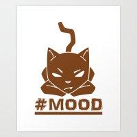 #MOOD Cat Brown Art Print