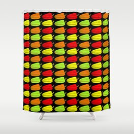 Bulgarian pepper. Pattern and background of colorful peppers on a black background Shower Curtain