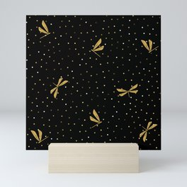 Gold Dragonfly Christmas seamless pattern and Gold Confetti on Black Background Mini Art Print